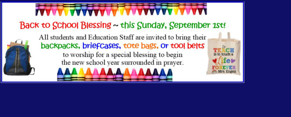 Join us for Worship on September 1, 2019